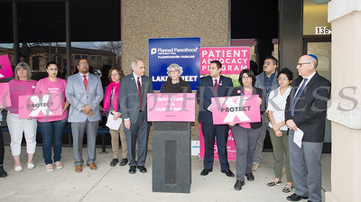 Planned Parenthood Mid-Hudson Valley  President and CEO Ruth-Ellen Blodgett offers remarks during an event with elected officials and local partners on Tuesday, April 16, to draw attention to what's at stake in New York State regarding the gag rule. Hudson Valley Press/CHUCK STEWART, JR.