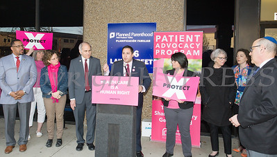 Orange County legislator Kevindaryán Luján offers remarks as Planned Parenthood Mid-Hudson Valley hosted an event with elected officials and local partners on Tuesday, April 16, to draw attention to what's at stake in New York State regarding the gag rule. Hudson Valley Press/CHUCK STEWART, JR.
