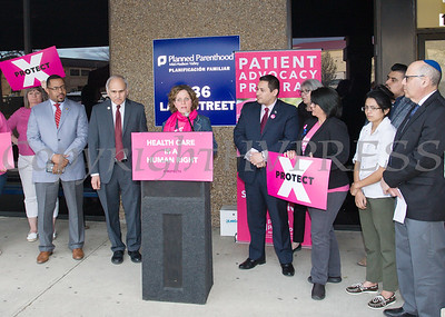 Patient advocate Andrea Ciminello tells her truth during a Planned Parenthood Mid-Hudson Valley hosted an event with elected officials and local partners on Tuesday, April 16, to draw attention to what's at stake in New York State regarding the gag rule. Hudson Valley Press/CHUCK STEWART, JR.