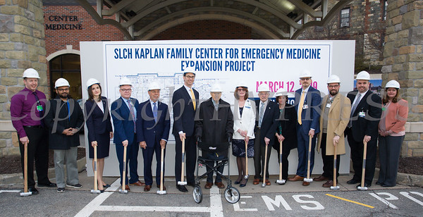 "St. Luke's Cornwall Hospital hosted a ""wall breaking"" and kick off ceremony to celebrate the beginning of the Kaplan Family Center for Emergency Medicine Expansion Project on Tuesday, March 12, 2019.  Joining the celebration are: Chris Rhynehart, Manager, SLCH Emergency Department, Dr. Sachin Shah, SLCH Chairman of Emergency Medicine, Dr. Irina Gelman, Orange County Commissioner of Health, Daniel Maughan, SLCH Senior Vice President of Transformation, Jack Holt, Holt Construction, David Potack, Chairman, SLCH Board of Trustees, Senator William Larkin, Joan Cusack-McGuirk, SLCH President and CEO, William Kaplan, Joan Kaplan, Dr. Geoffrey Brackett, SLCH, Board of Trustee Member, Austin Dubois, SLCH Board of Trustee Member, Joe Surace, SLCH Vice President of Operations, and Kathy Sheehan, SLCH Director of Emergency and Trauma Services. Hudson Valley Press/CHUCK STEWART, JR."