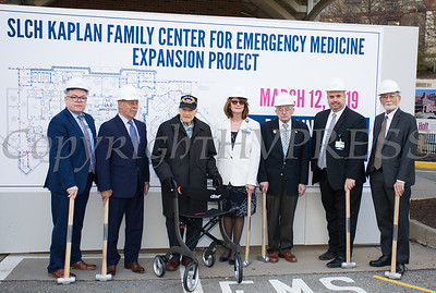 "St. Luke's Cornwall Hospital hosted a ""wall breaking"" and kick off ceremony to celebrate the beginning of the Kaplan Family Center for Emergency Medicine Expansion Project on Tuesday, March 12, 2019. Joining the celbration are: Daniel Maughan, SLCH Senior Vice President of Transformation, Jack Holt, Holt Construction, Senator William Larkin, Joan Cusack-McGuirk, SLCH President and CEO,  William Kaplan, Joe Surace, SLCH Vice President of Operations and Kurt Baur, DI Group Architecture. Hudson Valley Press/CHUCK STEWART, JR."
