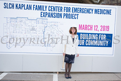 """SLCH President & CEO Joan Cusack-McGuirk prepares to break the wall as St. Luke's Cornwall Hospital hosted a """"wall breaking"""" and kick off ceremony to celebrate the beginning of the Kaplan Family Center for Emergency Medicine Expansion Project on Tuesday, March 12, 2019. Hudson Valley Press/CHUCK STEWART, JR."""