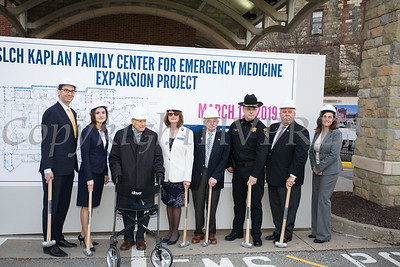"St. Luke's Cornwall Hospital hosted a ""wall breaking"" and kick off ceremony to celebrate the beginning of the Kaplan Family Center for Emergency Medicine Expansion Project on Tuesday, March 12, 2019. Joining the celebration are: David Potack, Dr. Irina Gelman, Orange County Commissioner of Health, Senator William Larkin, Joan Cusack-McGuirk, William Kaplan, Captain Paul Arteta, Orange County Legislator James Kulisek, and Leah Canton, Assistant District Attorney for Orange County. Hudson Valley Press/CHUCK STEWART, JR."