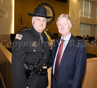 Orange County Sheriff Carl DuBois was swon in for a fifth time as the Orange County Legislative organizing meeting took place in Goshen, NY on Thursday, January 3, 2019. DuBois is pictured with Deputy County Executive Harold Porr. Hudson Valley Press/CHUCK STEWART, JR.