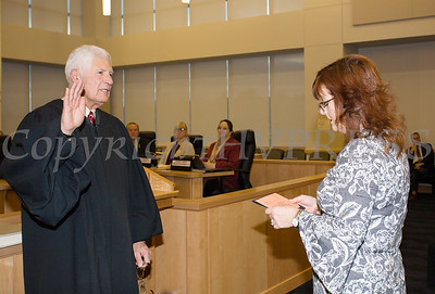 Judge Robert A. Onofry was sworn in by Clerk Annie Rabbitt to his second term as Surrogate Court Judge during the Orange County Legislative organizing meeting in Goshen, NY on Thursday, January 3, 2019. Hudson Valley Press/CHUCK STEWART, JR.
