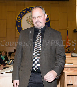 Orange County Legislator Stephen Brescia is swon in by Clerk Annie Rabbitt. Brescia was selected by fellow lawmakers on Thursday, January 3, 2019 to be chairman for another year, making him the second longest serving leader in the body's history. Hudson Valley Press/CHUCK STEWART, JR.
