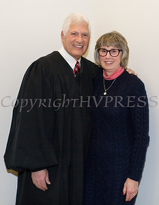 Judge and Mrs. Robert A. Onofry pose for a photo after he was sworn in to his second term as Surrogate Court Judge during the Orange County Legislative organizing meeting in Goshen, NY on Thursday, January 3, 2019. Hudson Valley Press/CHUCK STEWART, JR.