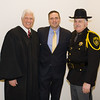 Judge Robert A. Onofry, Orange County Executive Steven Neuhaus and Orange County Sheriff Carol DuBois pose for a photo after Onofry and DuBois were sworn in during the Orange County Legislative organizing meeting in Goshen, NY on Thursday, January 3, 2019. Hudson Valley Press/CHUCK STEWART, JR.