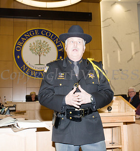 Orange County Sheriff Carl E. DuBois offers remarks after he was sworn in by Clerk Annie Rabbit to his unprecedented fifth term as Sheriff during the Orange County Legislative organizing meeting in Goshen, NY on Thursday, January 3, 2019. Hudson Valley Press/CHUCK STEWART, JR.