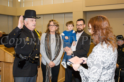 Orange County Sheriff Carl E. DuBois was sworn in by Clerk Annie Rabbitt to his unprecedented fifth term as Sheriff during the Orange County Legislative organizing meeting in Goshen, NY on Thursday, January 3, 2019. Hudson Valley Press/CHUCK STEWART, JR.