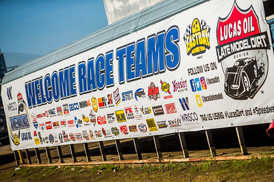 Lucas Oil Late Model Dirt Series Welcome Race Teams pit banner