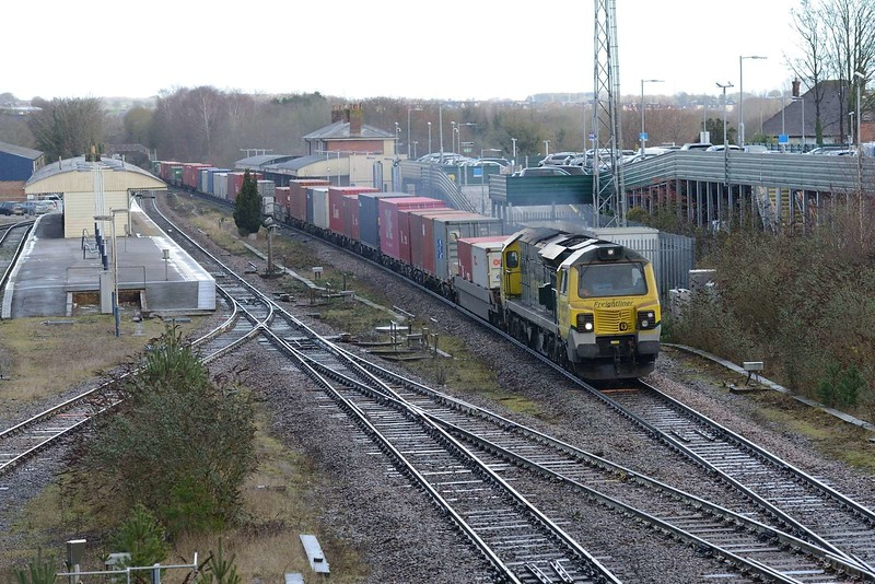 7 February 2019 :: Passing Andover is 70003 leading a diverted 4O90 from Leeds to Southampton