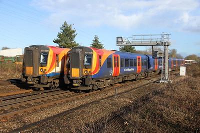 450026 Old Basing 07/02/19 2L37 London Waterloo to Basingstoke being overtaken by 444009 on 1W27 London Waterloo to Weymouth