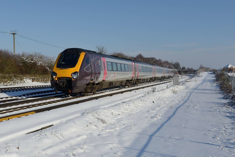 2 February 2019 :: Cross Country 221 130 is passing Worting Junction  working train 1O08, the 0728 from Manchester Piccadilly to Bournemouth