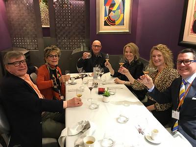 St. Clair - Lou, Ruth, Andre, Kathryn, Jolene, Jules toast at Carré des Feuillants