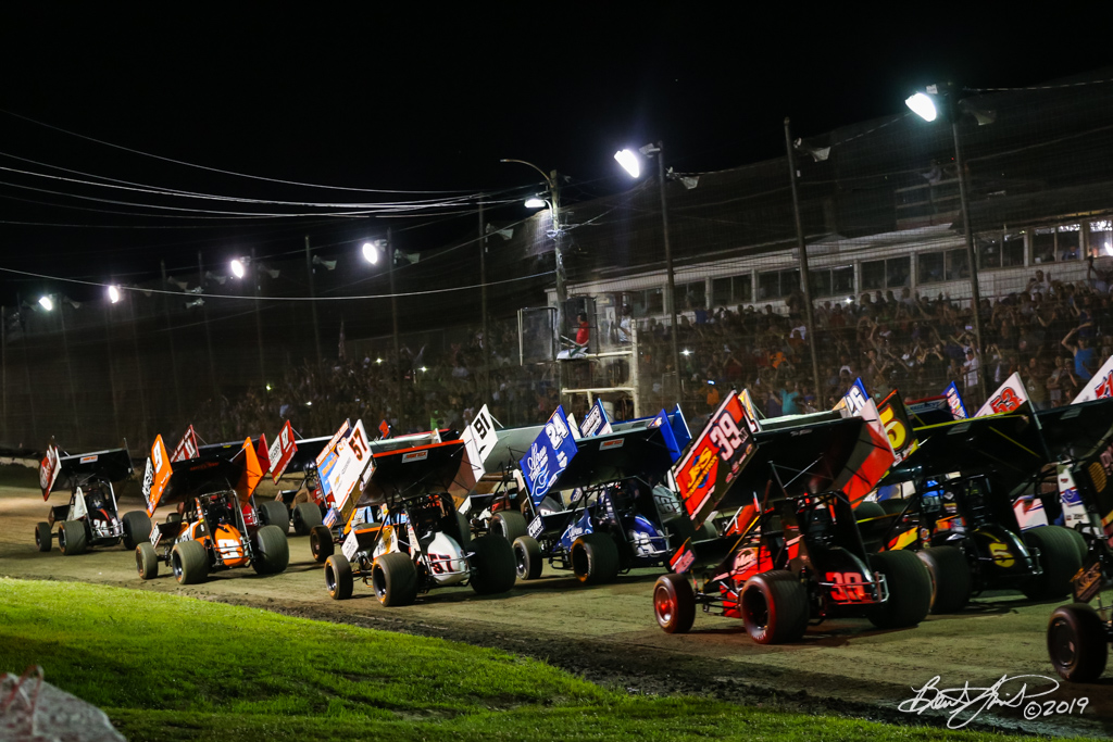 Pennsylvania Sprint Car Speedweek - Grandview Speedway - 4 Wide Salute