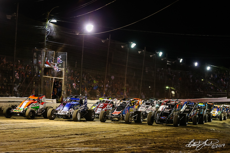Jesse Hockett Classic - USAC AMSOIL National Sprint Cars - Grandview Speedway - 4 Wide