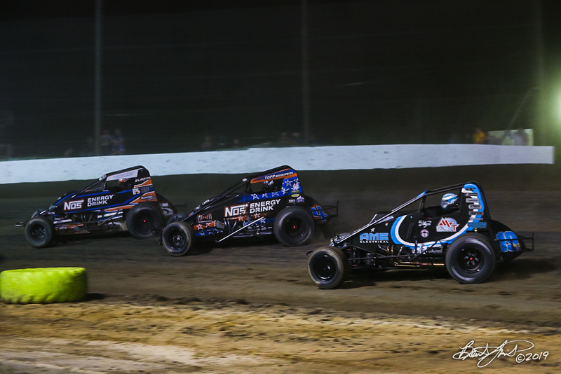 Jesse Hockett Classic - USAC AMSOIL National Sprint Cars - Grandview Speedway - 5G Chris Windom, 4 Justin Grant, 19AZ CJ Leary