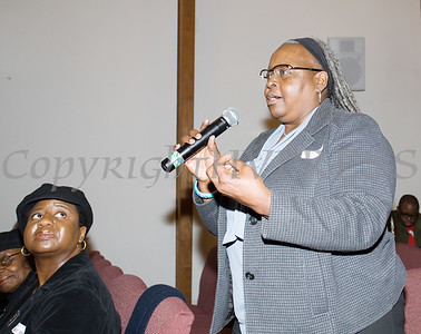 Dr. Williams asks a question of the panel during the Black History Committee of the Hudson Valley Annual Rev. Dr. Martin Luther King Jr Memorial Service on Monday, January 21, 2019 at Mt. Carmel Church of Christ in Newburgh, NY. Hudson Valley Press/CHUCK STEWART, JR.