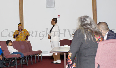 City of Newburgh Councilwoman Hillary Rayford asks a question of the panel during the Black History Committee of the Hudson Valley Annual Rev. Dr. Martin Luther King Jr Memorial Service on Monday, January 21, 2019 at Mt. Carmel Church of Christ in Newburgh, NY. Hudson Valley Press/CHUCK STEWART, JR.