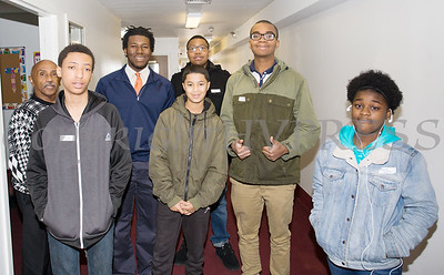 Coach George Bowles, far left, conducted a youth workshop during the Black History Committee of the Hudson Valley Annual Rev. Dr. Martin Luther King Jr Memorial Service on Monday, January 21, 2019 at Mt. Carmel Church of Christ in Newburgh, NY. Hudson Valley Press/CHUCK STEWART, JR.
