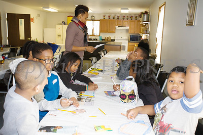 Shawna Newkirk-Reynolds leads a youth workshop during the Black History Committee of the Hudson Valley Annual Rev. Dr. Martin Luther King Jr Memorial Service on Monday, January 21, 2019 at Mt. Carmel Church of Christ in Newburgh, NY. Hudson Valley Press/CHUCK STEWART, JR.
