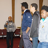 Coach George Bowles introduces youth from his workshop, who explain what they learned during the Black History Committee of the Hudson Valley Annual Rev. Dr. Martin Luther King Jr Memorial Service on Monday, January 21, 2019 at Mt. Carmel Church of Christ in Newburgh, NY. Hudson Valley Press/CHUCK STEWART, JR.