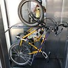 Stayed at hostel in Ungvár (larger city).  Here, bike in elevator.