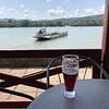 Ferry crossing Duna with me enjoying raspberry soda.