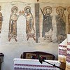 Old frescos (once covered up). Cloths with east magyar designs.
