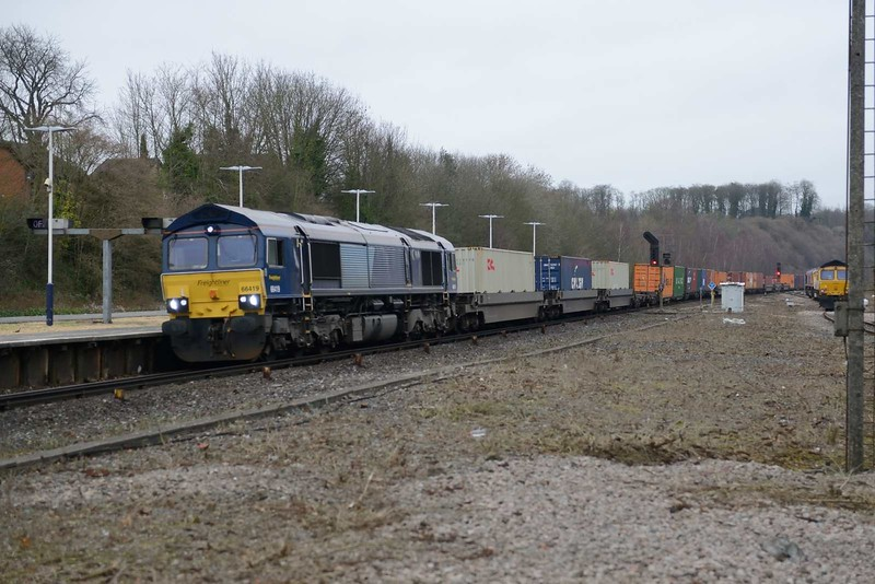 7 January 2019 :: 66419 is seen at Micheldever working 4O70 from Wentloog to Southampton