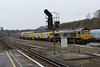 7 January 2019 :: In the yard at Micheldever is 66740 + 66752 with Schweerbau Rail Milling Machine  DR 79601 & 66752