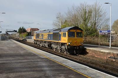 18 January 2019 :: 66719 is running light through Basingstoke working 0V32 from Eastleigh to Swindon