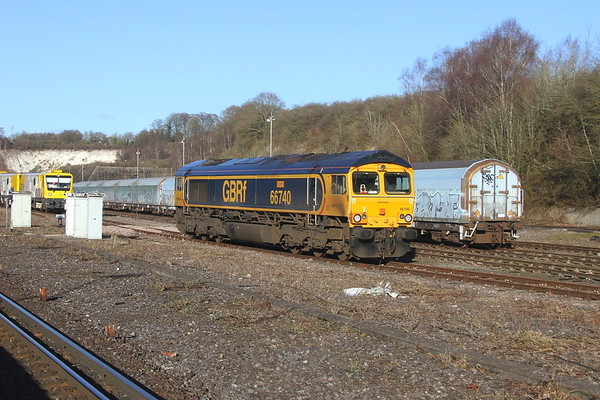 66740 Micheldever 17/01/19 taking a break from operating with the Rail Milling Machine
