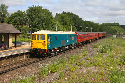 73201 Micheldever 28/07/19 1Z73 Waterloo to Swanage with 4-TC set 8028 and 73107 on the rear