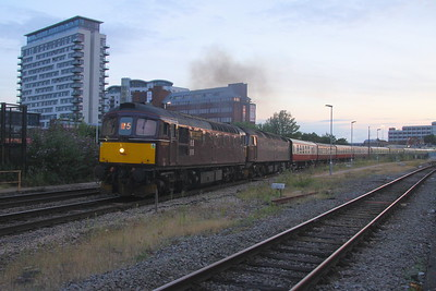 33025 Basingstoke 27/07/19 5Z25 Eastleigh to Bristol Kingsland Road with 47245 which had failed with coolant problems at Basingstoke (the 33 also failed at Swindon and was rescued by 47802)