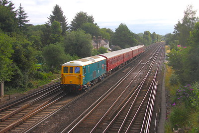 73201 Worting Junction 28/07/19 on the rear of 5Z73 Eastleigh to Waterloo with 4-TC set 8028 and 73107