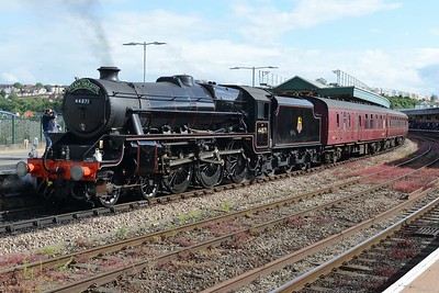 20 June 2019 :: LMS Stanier Class 5, 4-6-0 No. 44871 stands at Bristol Temple Meads and will soon work 1Z24, The Steam Dreams return tour to Paddington via Salisbury and Basingstoke