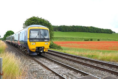 25 June 2019 :: Passing a field of poppys near Hanging Langford is 166 211 working 1F23, the 1430 from Cardiff Central to Portsmouth Harbour