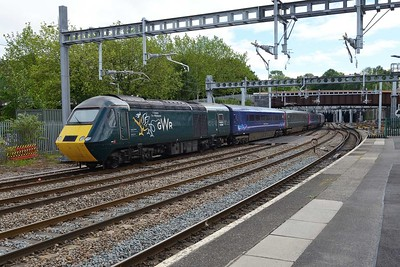 20 June 2019 :: On the rar of Castle HST 2U28, the 1308 from Taunton to Cardiff Central is 43188 in Geraint Thomas, The Welshman livery