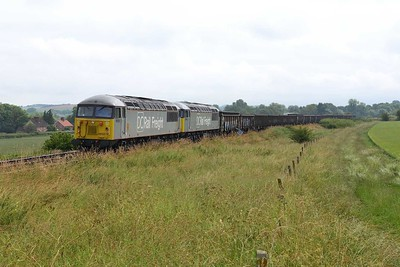 25 June 2019 :: 56103 + 56091 are seen Bapton in the Wylye Valley working 6Z90 from Southampton Up Yard to Westbury with empty ballast wagons.  Only because this train was running over an hour late did it give me the unexpected chance to photograph it here