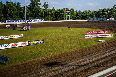 Lucas Oil Late Model Dirt Series banners around Magnolia Motor Speedway