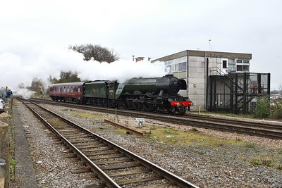 19 March 2019 :: LNER A3 Class 4-6-2 no 60103 Flying Scotsman with its support coach passing Basingstoke working 5Z75 from Southall to Swanage