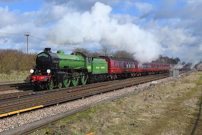 """7 March 2019 :: LNER B1 class 4-6-0 no 61306 """"Mayflower"""" is pictured passing Worting Junction working Steam Dreams 1Z15 from Victoria to Bristol Temple Meads"""