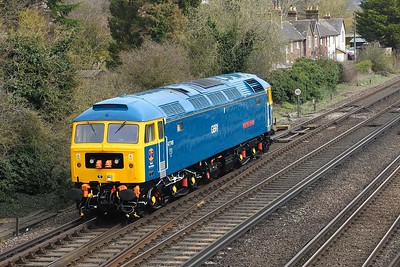 """19 March 2019 :: A closer look at 47749 """"City of Truro"""" in its BR Blue livery with GBRf logo passing the cottages at Worting Junction working 0Z47 from Eastleigh to Leicester"""