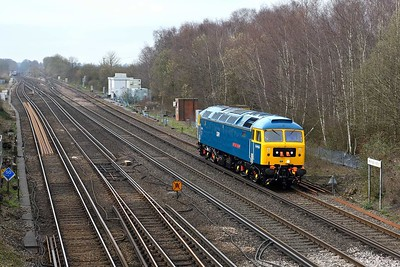 """19 March 2019 :: In a new GBRf livery 47749 """"City of Truro""""  passes Worting Junction working 0Z47 from Eastleigh to Leicester"""