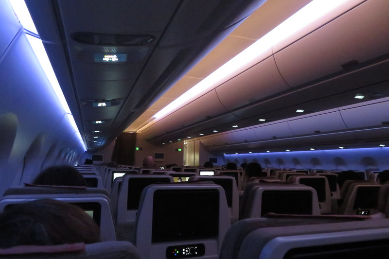 Asiana Airlines Airbus A350 HL7579 interior whilst flying from London Heathrow to Seoul, 09.05.2019.