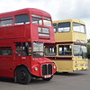 Dave's Buses Park Royal AEC Routemaster 448UXS RM848 and Preserved Leicester Corporation Scania MCW Metropolitan GJF301N 301 at the Buckinghamshire Railway Centre bus rally, 27.05.2019.