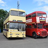 Preserved Leicester Corporation Scania MCW Metropolitan GJF301N 301 and Park Royal AEC Routemaster 100BXL RM1000 at the Buckinghamshire Railway Centre bus rally, 27.05.2019.