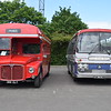 Converted single deck AEC Routemaster towing vehicle 368CLT RM1368 with Great Ouse Valley Bedford YRQ Plaxton Panorama PNM757M at the Buckinghamshire Railway Centre bus rally, 27.05.2019.